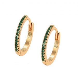 Green Cubic Zirconia Crystal Hoop Earrings