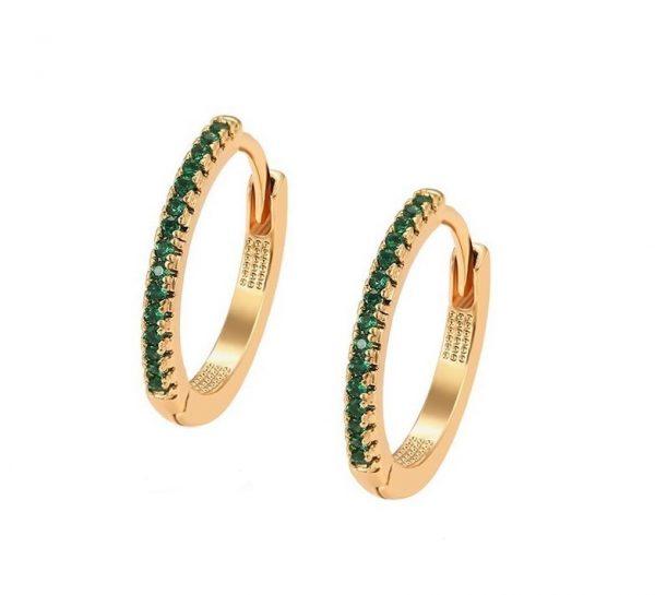 Callel 18K Gold Green Cubic Zirconia Hoop Earrings
