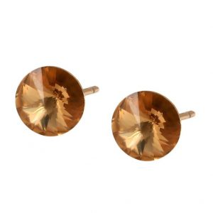 Gold Stud Earrings Embellished With Champagne Crystal From Swarovski