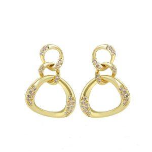 14K Gold Cubic Zirconia Chain Drop Earrings