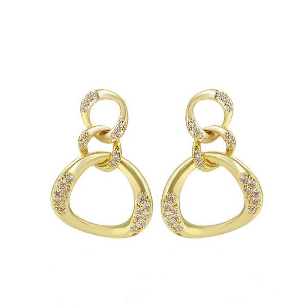 Callel 14K Gold Cubic Zirconia Chain Drop Earrings