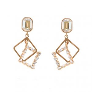 18K Gold Drop Earrings Embellished With Champagne Crystal From Swarovski