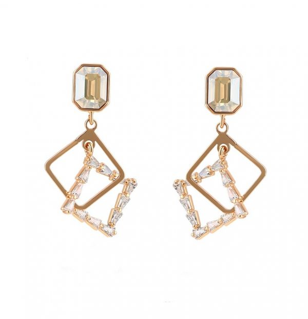 Callel Gold Drop Earrings Embellished With Champagne Crystal From Swarovski