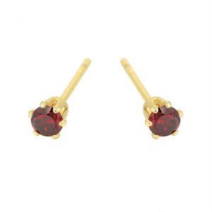 Garnet 3mm Cubic Zirconia Stud Earrings In Gold