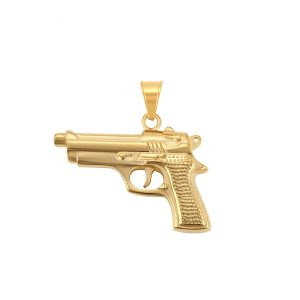 24K Gold Stainless Steel Huge Gun Pendant