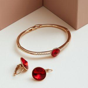 18K Gold Bracelet & Earrings Embellished With Red Crystal From Swarovski