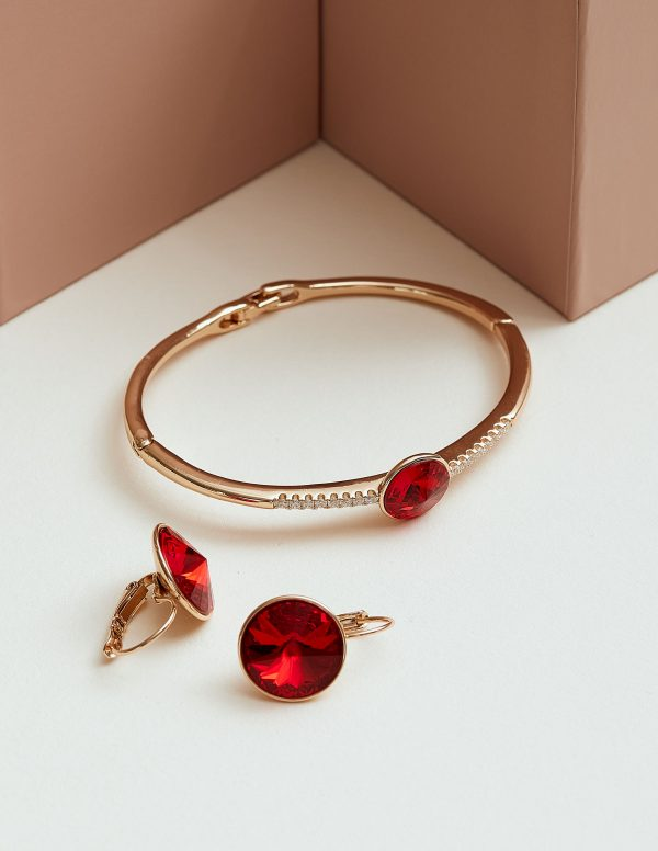 Callel 18K Gold Bracelet & Earrings Embellished With Red Crystal From Swarovski