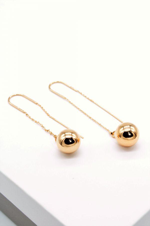 Callel Gold Chain & Ball Long Threader Earrings