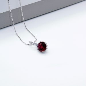 Ruby Cubic Zirconia Pendant Necklace