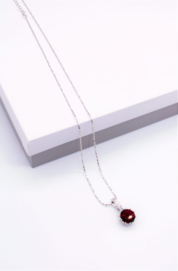 Callel Ruby Cubic Zirconia Pendant Necklace