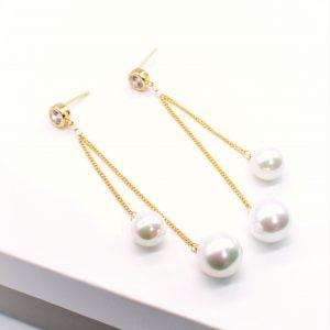 14K Gold Pearl Drop Dangle Earrings