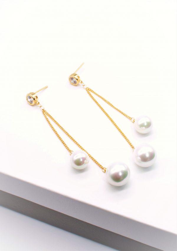Callel 14K Gold Pearl Drop Dangle Earrings