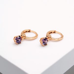 18K Gold Purple Cubic Zirconia Huggie Drop Earrings