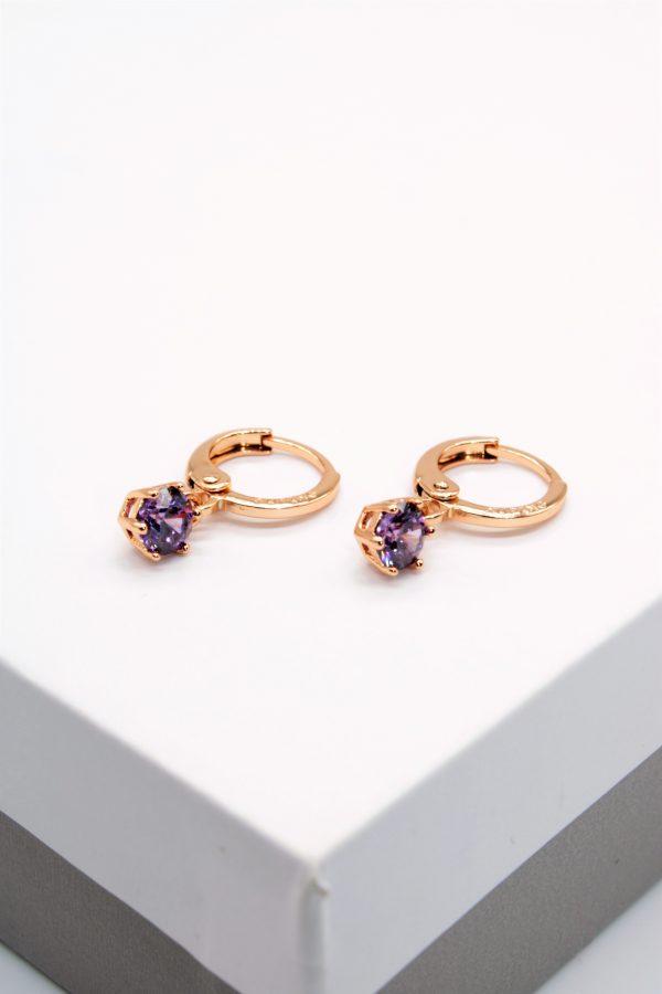 Callel 18K Gold Purple Cubic Zirconia Huggie Drop Earrings