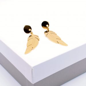 Feather Drop Earrings In Gold