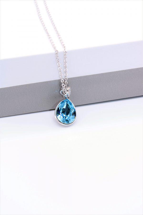 Callel Teadrop Pendant Necklace Embellished With Light Blue Crystal From Swarovski