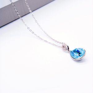 Teardrop Pendant Necklace Embellished With Light Blue Crystal From Swarovski