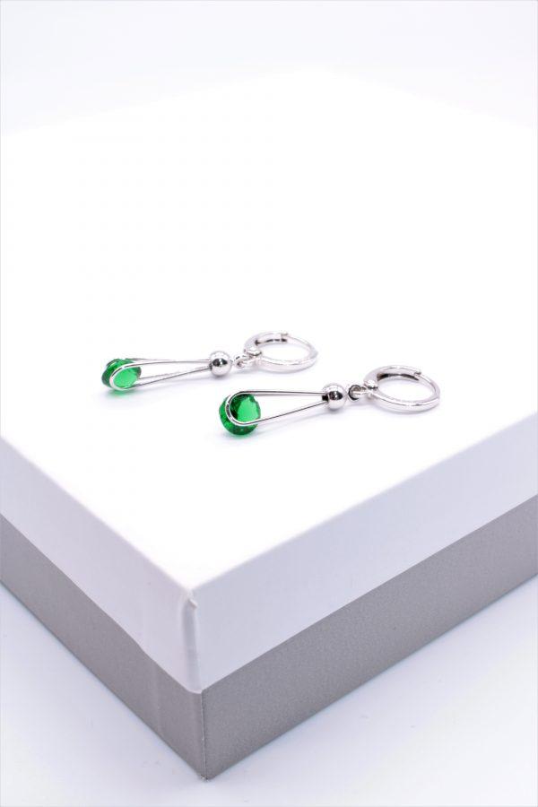 Callel Silver Green Cubic Zirconia Dangle Earrings