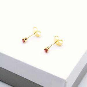 Garnet Cubic Zirconia Stud Earrings In Gold