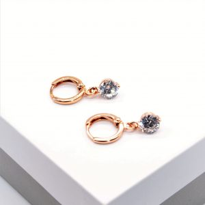 Rose Gold Cubic Zirconia Drop Huggie Earrings