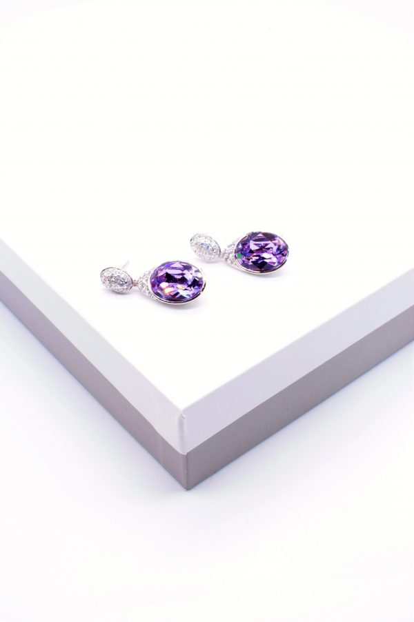 Callel Teardrop Earrings Embellished With Lilac Colour Crystal From Swarovski