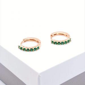 18K Gold Green Cubic Zirconia Hoop Earrings