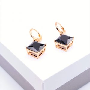 18K Gold Black Stone Huggie Drop Earrings