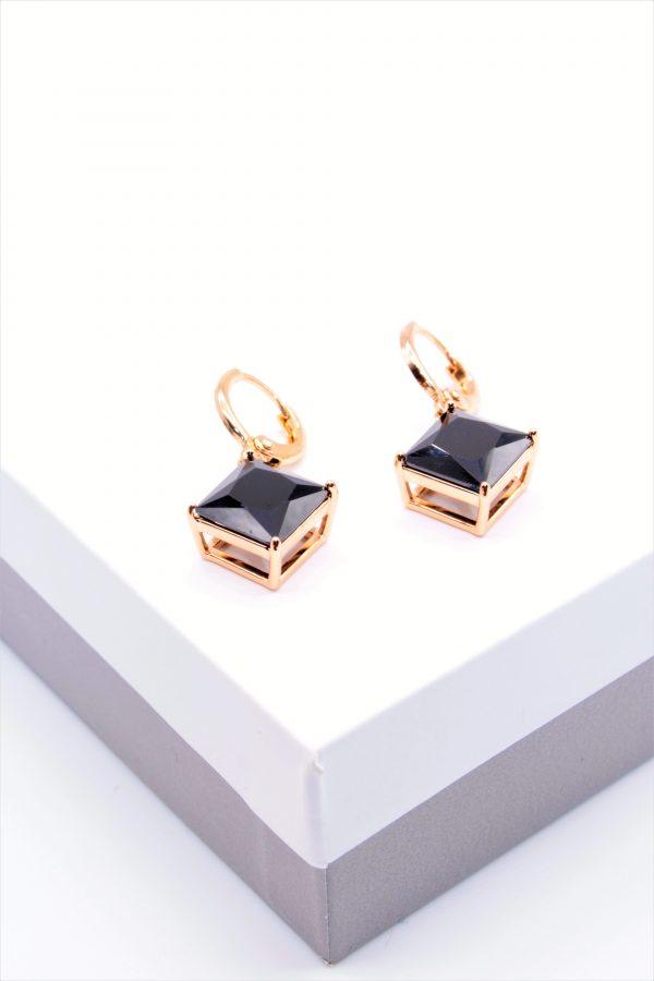 Callel 18K Gold Black Stone Huggie Drop Earrings