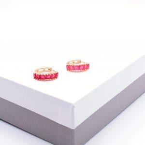 18K Gold Ruby Cubic Zirconia Hoop Earrings