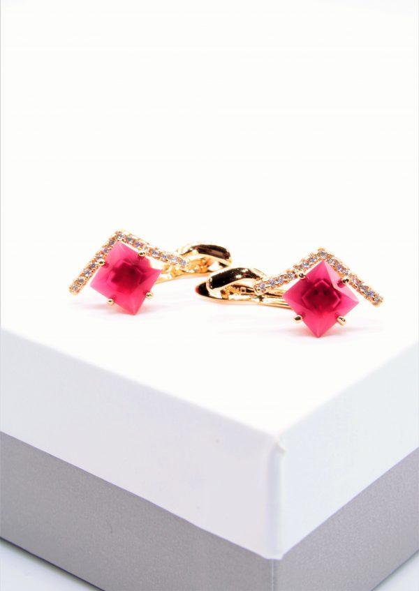 Callel Vintage Red Corundum Drop Earrings