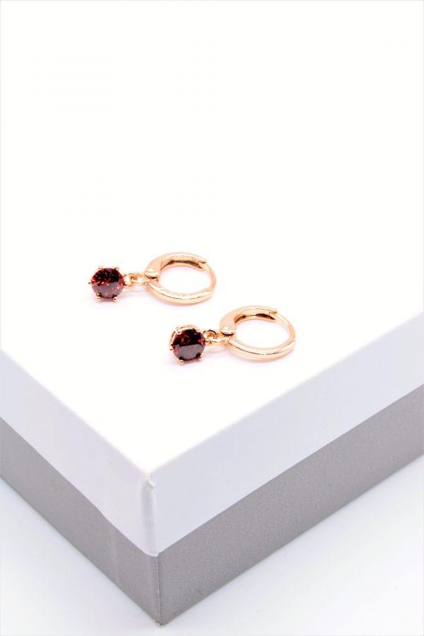 Callel Gold Garnet Cubic Zirconia Huggie Drop Earrings