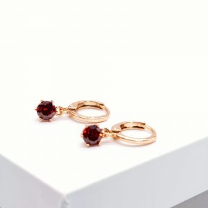18K Gold Garnet Cubic Zirconia Huggie Drop Earrings