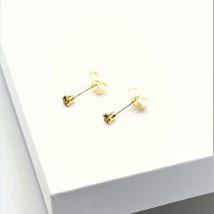 Green Cubic Zirconia Stud Earrings In Gold
