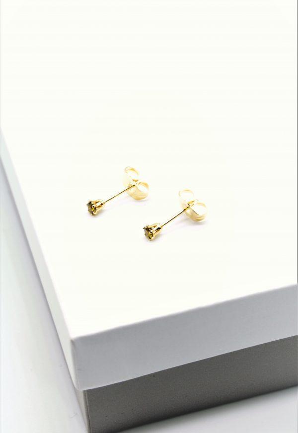 Callel Green Cubic Zirconia Stud Earrings In Gold