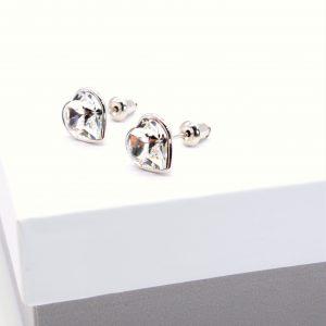 Crystal Heart Stud Earrings In Silver