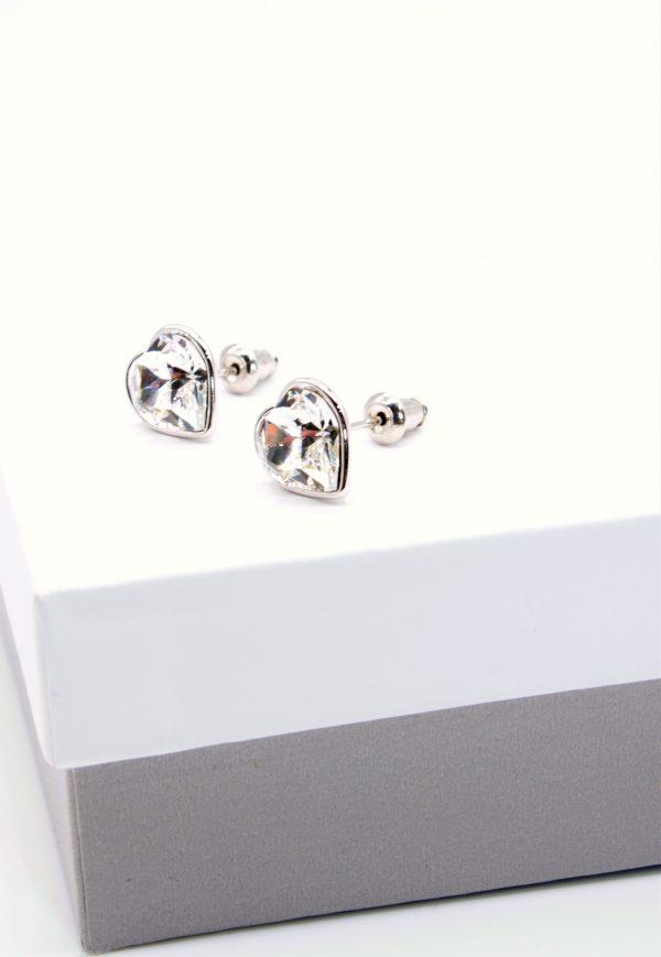 Callel Crystal Heart Stud Earrings In Silver