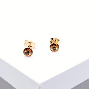 18K Gold Stud Earrings Embellished With Champagne Crystal From Swarovski