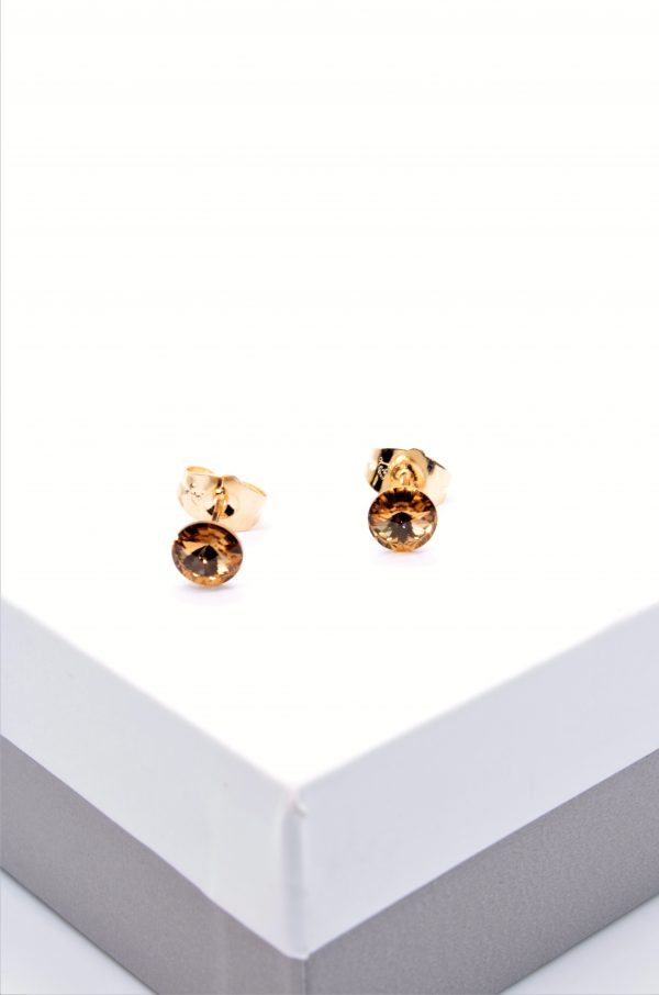 Callel Gold Stud Earrings Embellished With Champagne Crystal From Swarovski