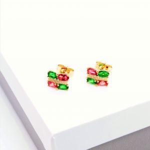 14K Gold Multicoloured Stud Earrings