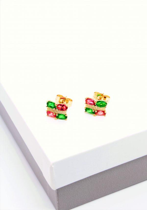 Callel 14K Gold Multicoloured Stud Earrings