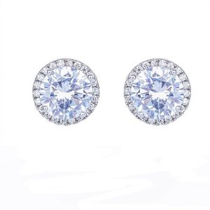 Round Cubic Zirconia Stud Earrings In Silver