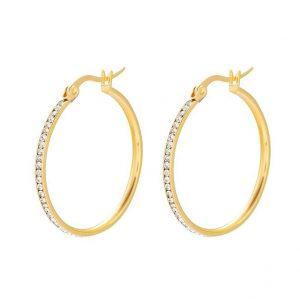 24K Gold Stainless Steel Cubic Zirconia Creole Hoop Earrings