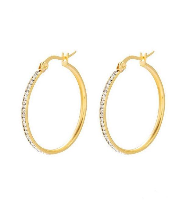 Callel Stainless Steel Cubic Zirconia Creole Hoop Earrings