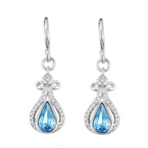 Silver Hook Earrings Embellished With Blue Crystal From Swarovski