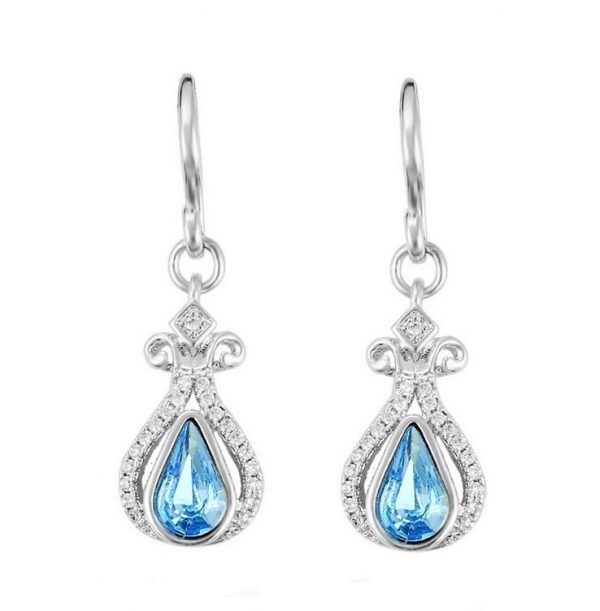 Callel Silver Hook Earrings Embellished With Blue Crystal From Swarovski