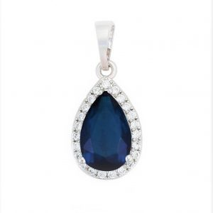 Royal Blue Cubic Zirconia Pear Pendant In Silver