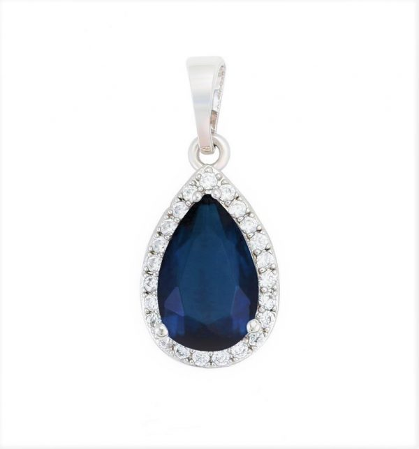 Callel Royal Blue Cubic Zirconia Pear Pendant In Silver