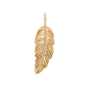18K Gold Cubic Zirconia Feather Pendant