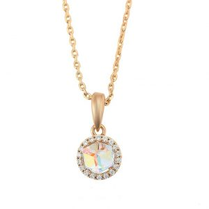 18K Gold Pendant Necklace Embellished With Colour Crystal From Swarovski