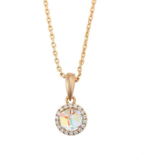 Callel 18K Gold Pendant Necklace Embellished With Colour Crystal From Swarovski